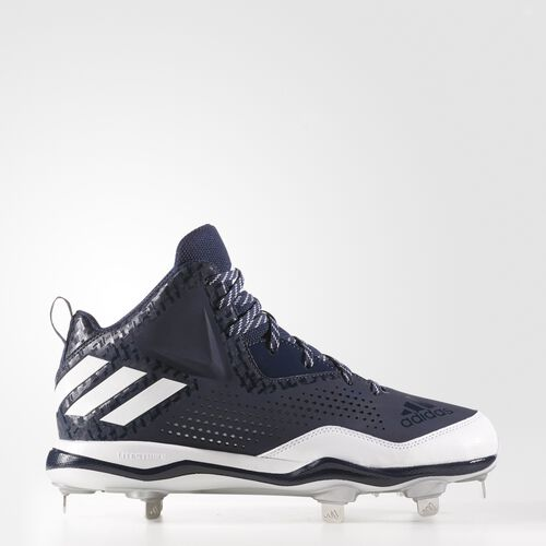 adidas - PowerAlley 4 Mid Cleats Collegiate Navy  /  Running White  /  Metallic Silver Q16578