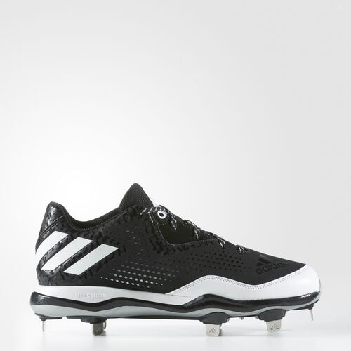 adidas - PowerAlley 4 Cleats Core Black  /  Running White  /  Metallic Silver Q16481