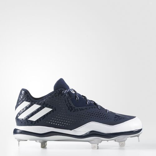 adidas - PowerAlley 4 Cleats Collegiate Navy  /  Running White  /  Metallic Silver Q16488