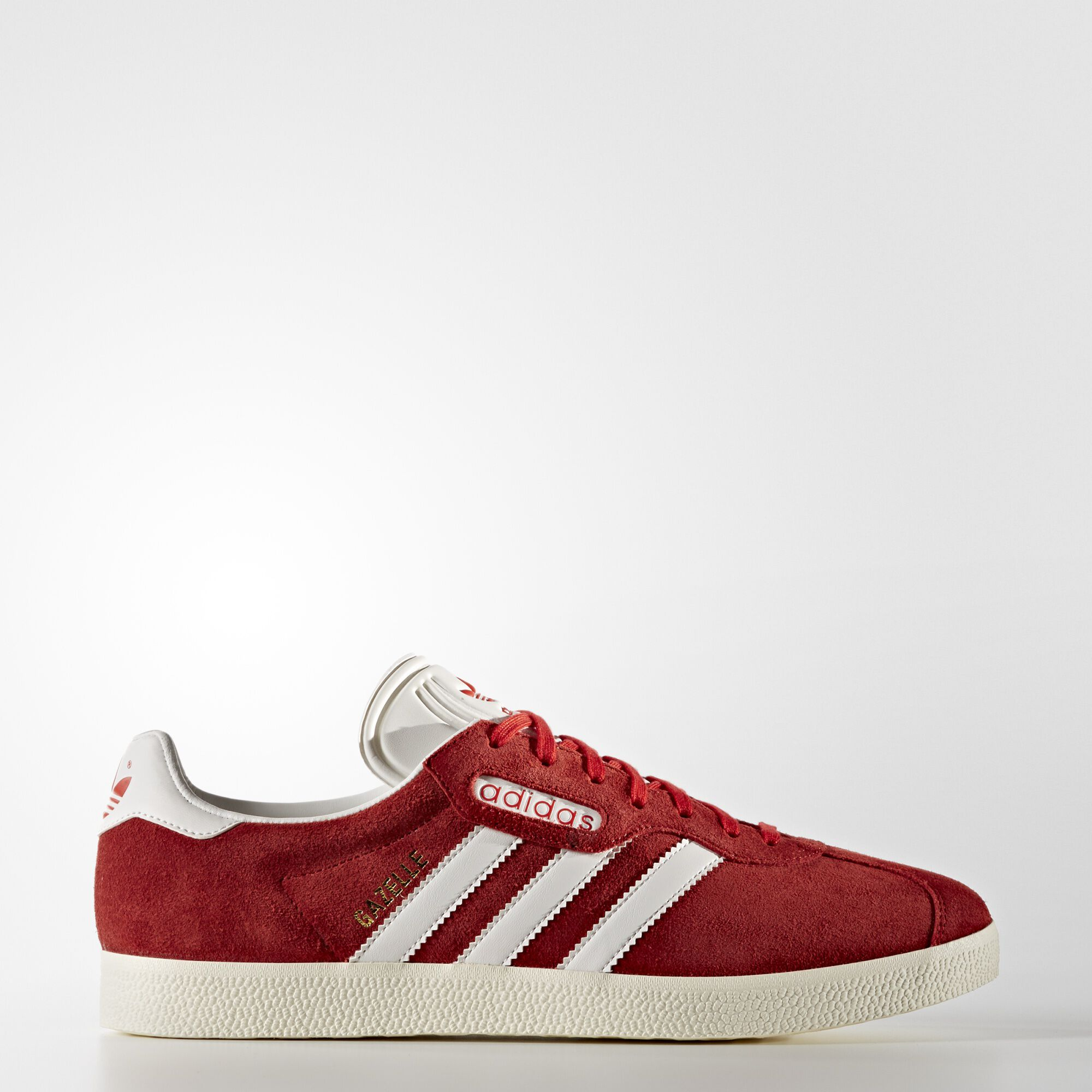 red leather adidas gazelle