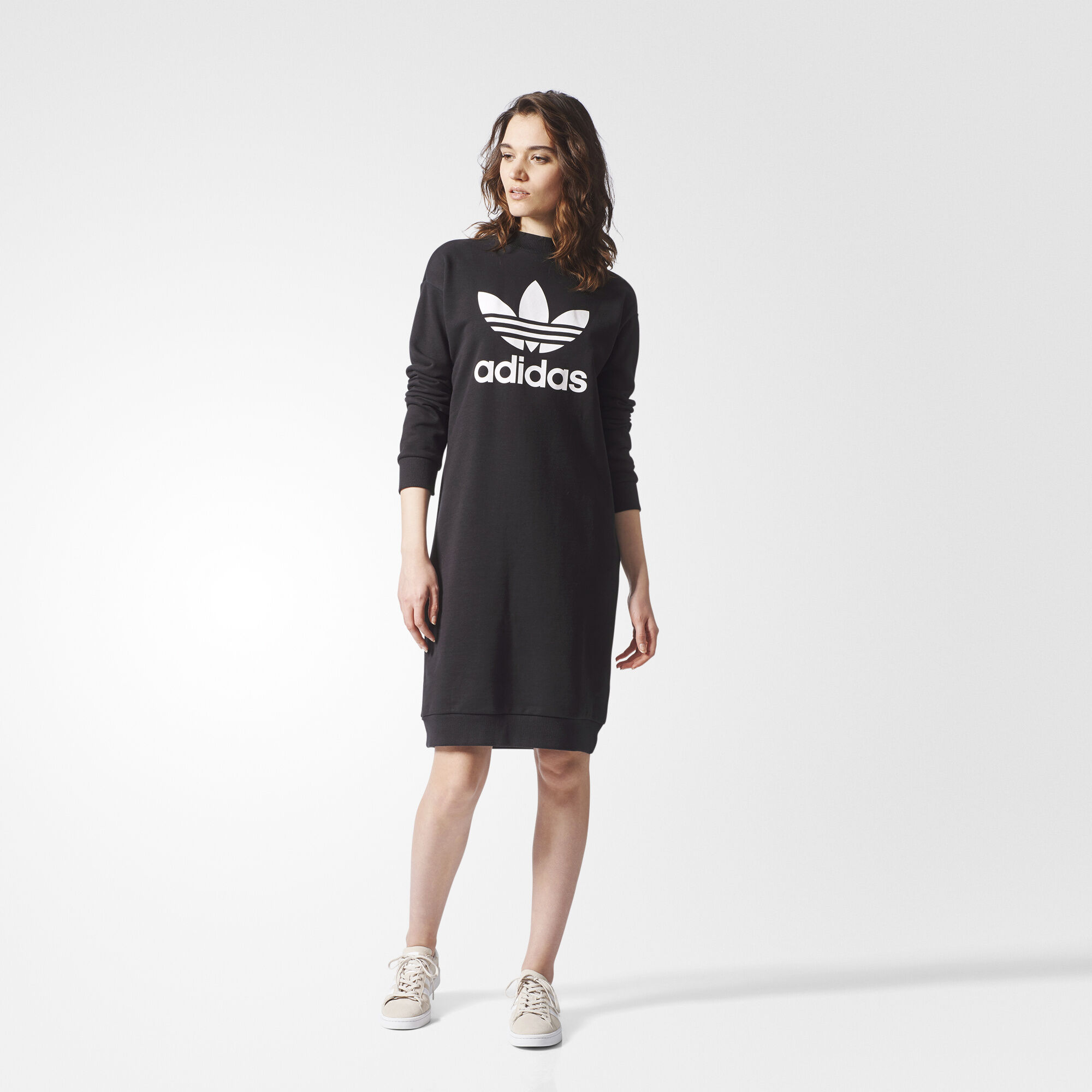 Black dress with adidas shoes - Adidas Trefoil Crew Dress Black Bp9370