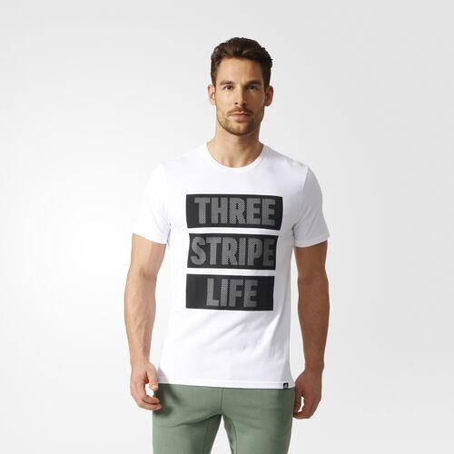 adidas - Three Stripe Life Tee White  /  Black  /  Reflective BP7607