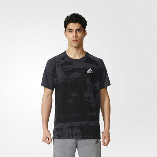adidas - Ultimate Elemental Raw Print Tee Utility Black  /  Black AY3346