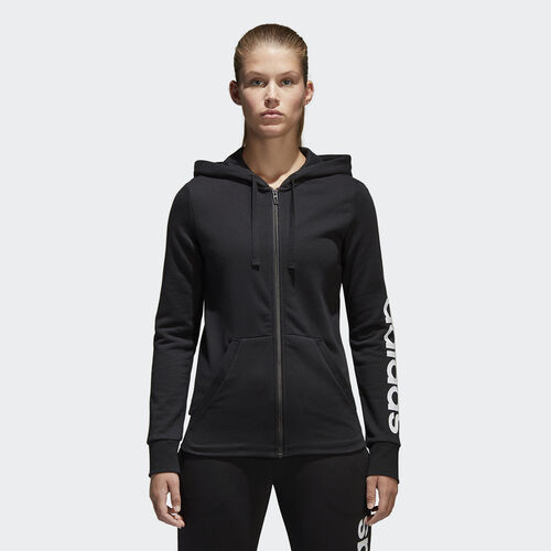 adidas - Essentials Linear Hoodie Black  /  White S97076