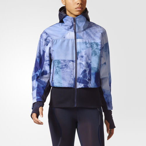 adidas - Run Trail Soft Shell Stone Print Jacket Legend Blue BQ8314