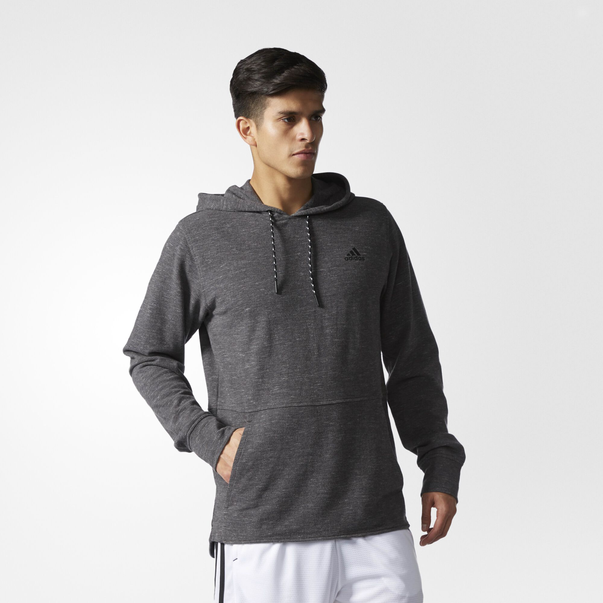 adidas Essentials Heathered Piqué Hoodie - Grey | adidas US