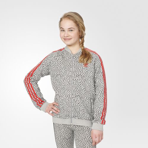 adidas - YWF SST Track Jacket Medium Grey Heather  /  Black  /  Tomato S96085