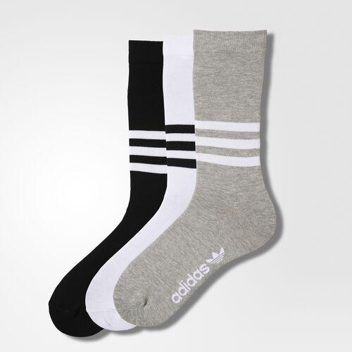 adidas - Thin Crew Socks 3 Pairs White  /  Black  /  Medium Grey Heather AZ0161
