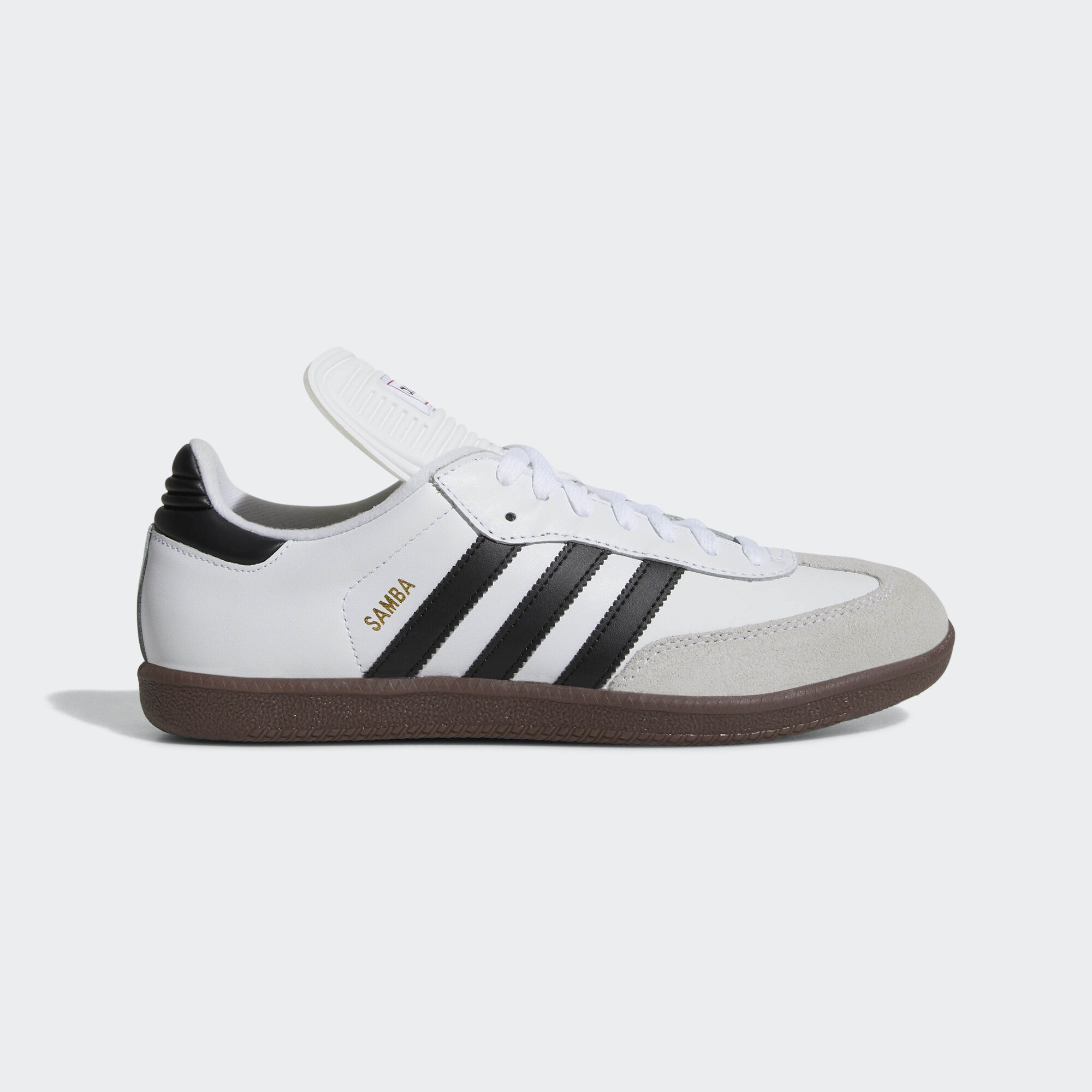 white adidas samba with coloured stripes