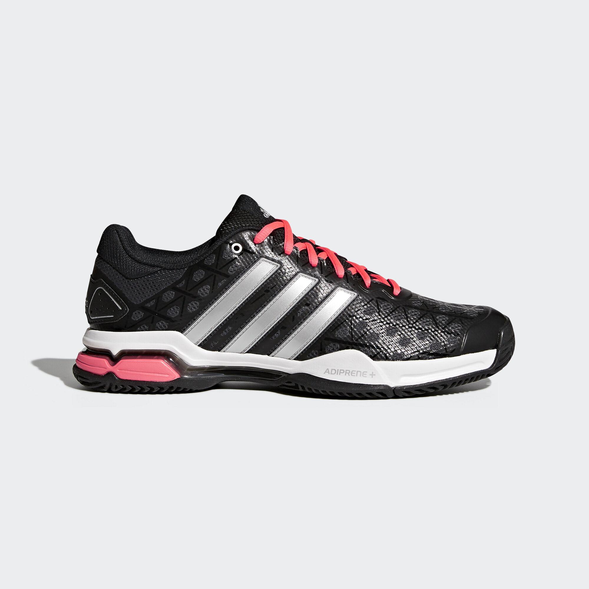 adidas Barricade Club Shoes Core Black Metallic Silver Flash Red AQ2288
