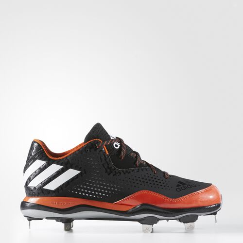 adidas - PowerAlley 4 Cleats Core Black  /  Running White  /  Collegiate Orange Q16484