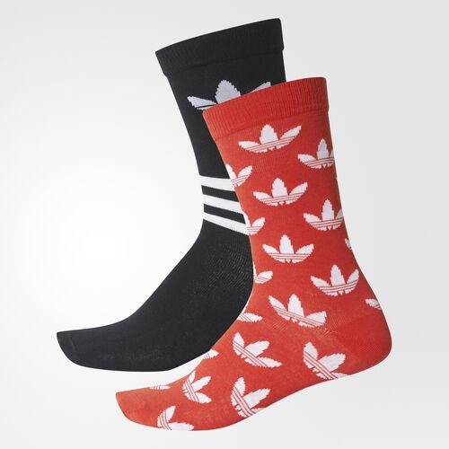 adidas - Trefoil Crew Socks 2 Pairs Bold Orange  /  Black  /  White BQ6063