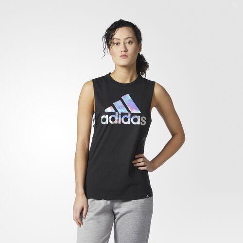 adidas - Badge of Sport Iridescent Mesh Muscle Tank Top Black  /  Multicolor CD9395