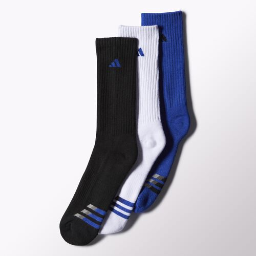 adidas - Cushioned Crew Socks 3 Pairs Bold Blue  /  White  /  Black H77451