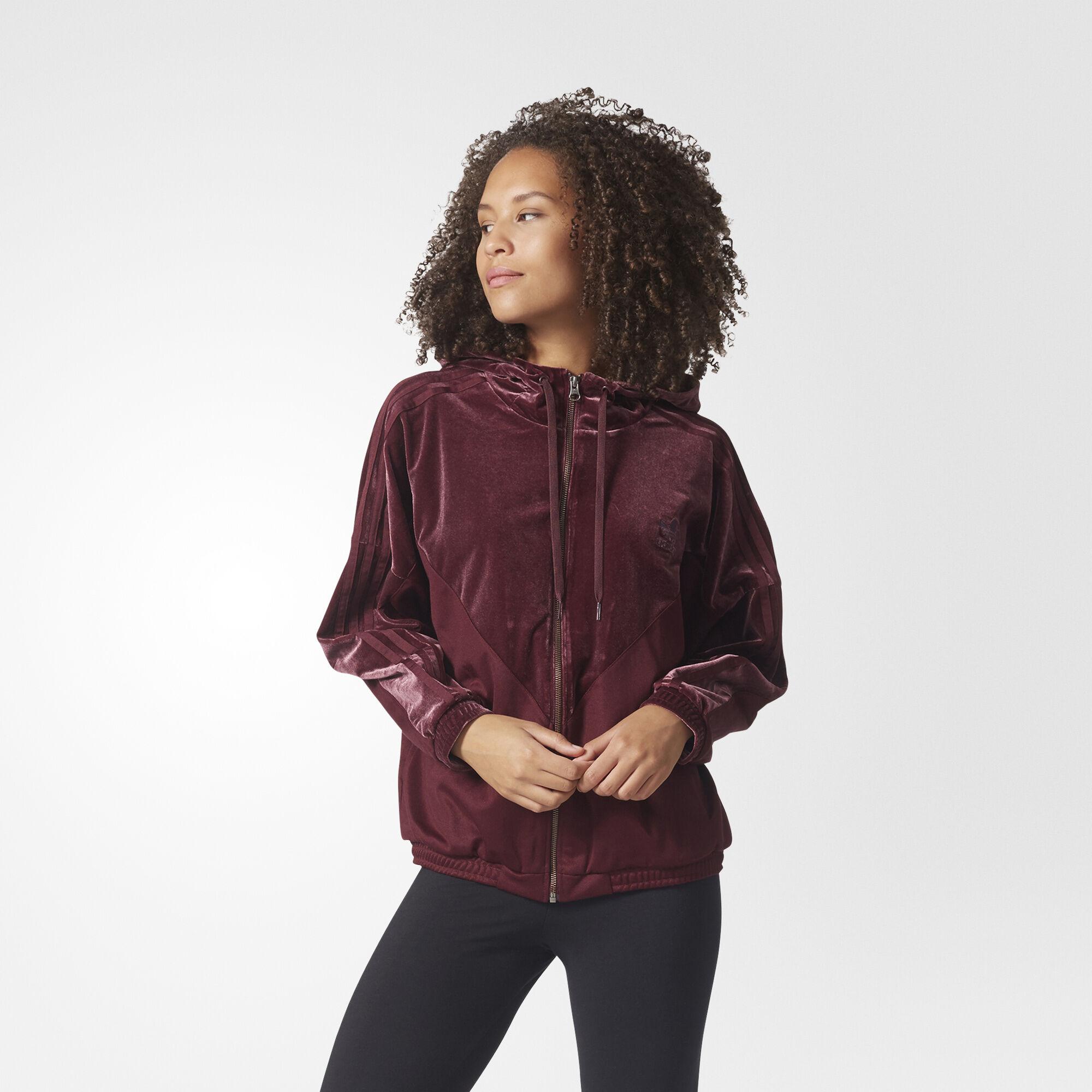 adidas Velvet Vibes Hoodie Track Jacket - Red | adidas US