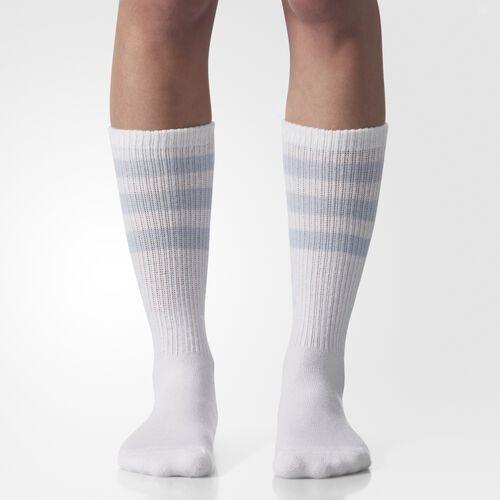 adidas - Originals Single Roller Crew Socks 1 Pair White  /  Satellite BH7127