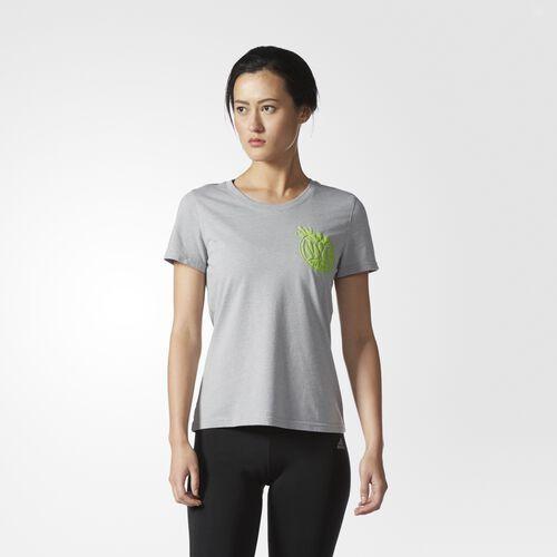 adidas - NYC Tennis Tee Medium Grey Heather  /  Semi Solar Green BP9189