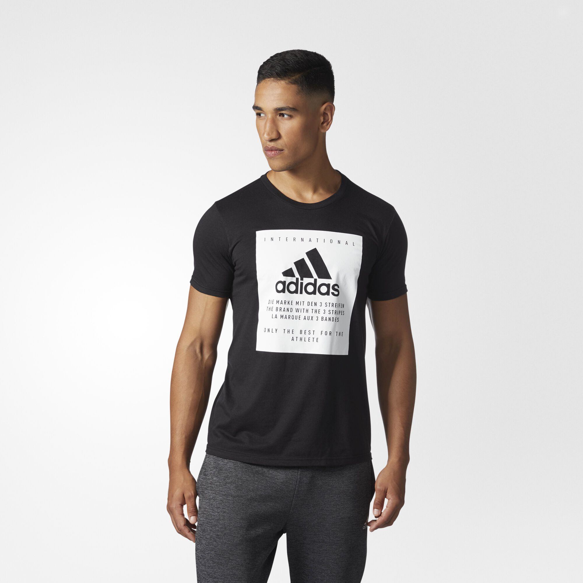 Black t shirt sports - Adidas Badge Of Sport Label Tee Black White Cd4537