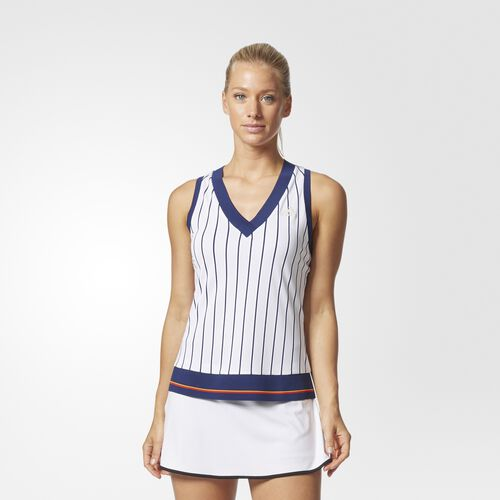 adidas - New York Striped Tank Top Chalk White  /  Blue BQ9116