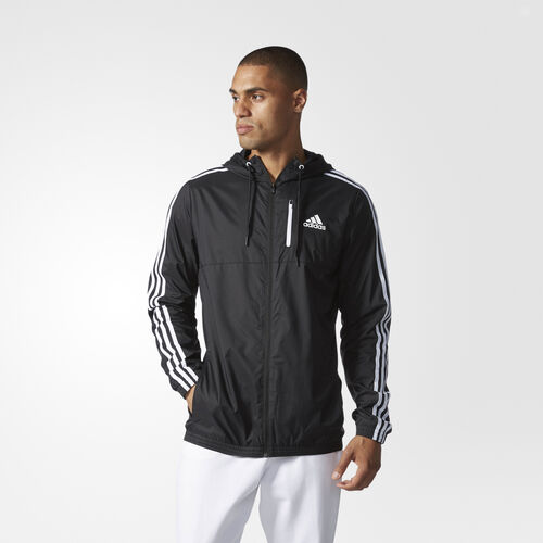 adidas - Big and Tall Essentials Woven Jacket Black  /  White BJ8517