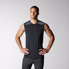 adidas - Techfit Base Fitted Sleeveless Tee Black  /  Dark Grey Heather  /  Onix M64258