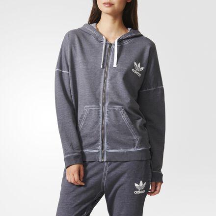 adidas Premium Essentials Washed Hoodie Grey