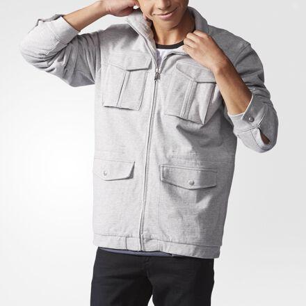 adidas Sherpa-Lined Track Jacket Medium Grey Heather