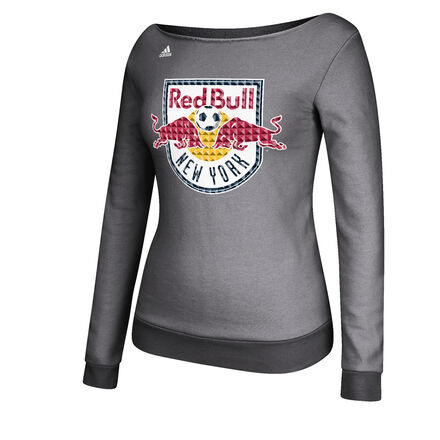 adidas Red Bulls Boatneck Fleece Crew Top Grey