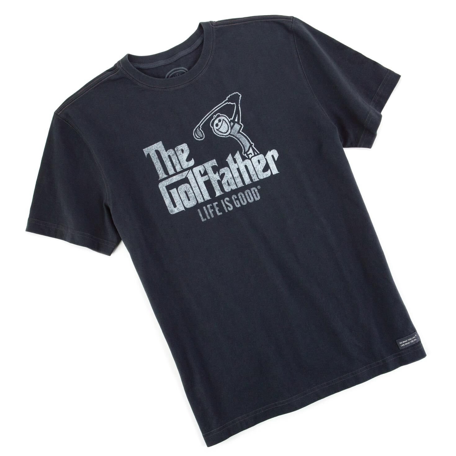 Life is good 174 the golf father men s black t shirt father s day