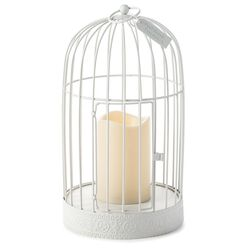 White Metal Birdcage Lantern Wall Decoration