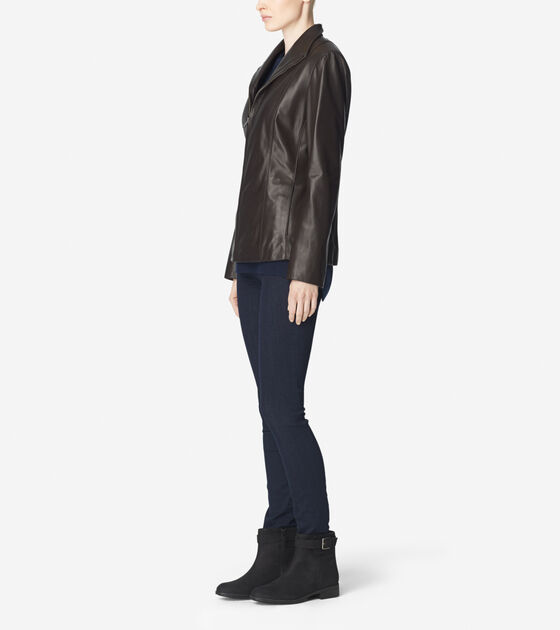 Smooth Lamb Wing Collar Leather Jacket