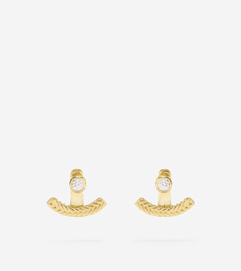 Basket Weave CZ Front to Back Earring