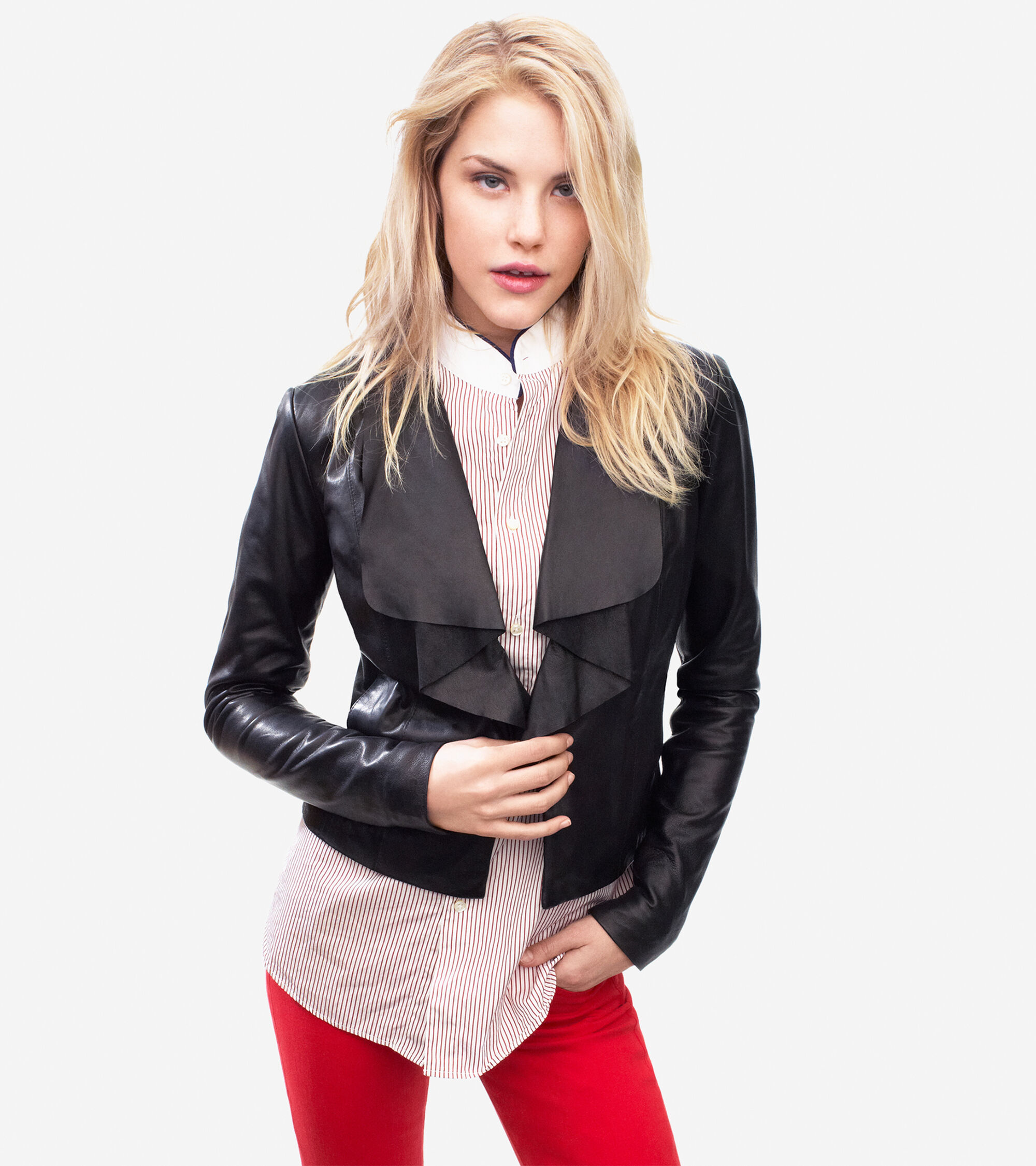 Outerwear > Drapey Glove Leather Lamb Jacket