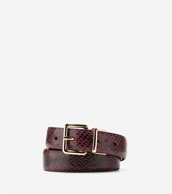 Reversible Snake Print-Leather Belt