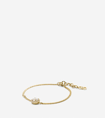 Crown Of Lights Round CZ Halo Chain Bracelet