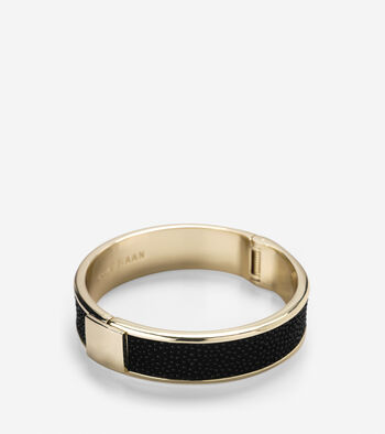 Wide Hinged Leather Inlay Bangle