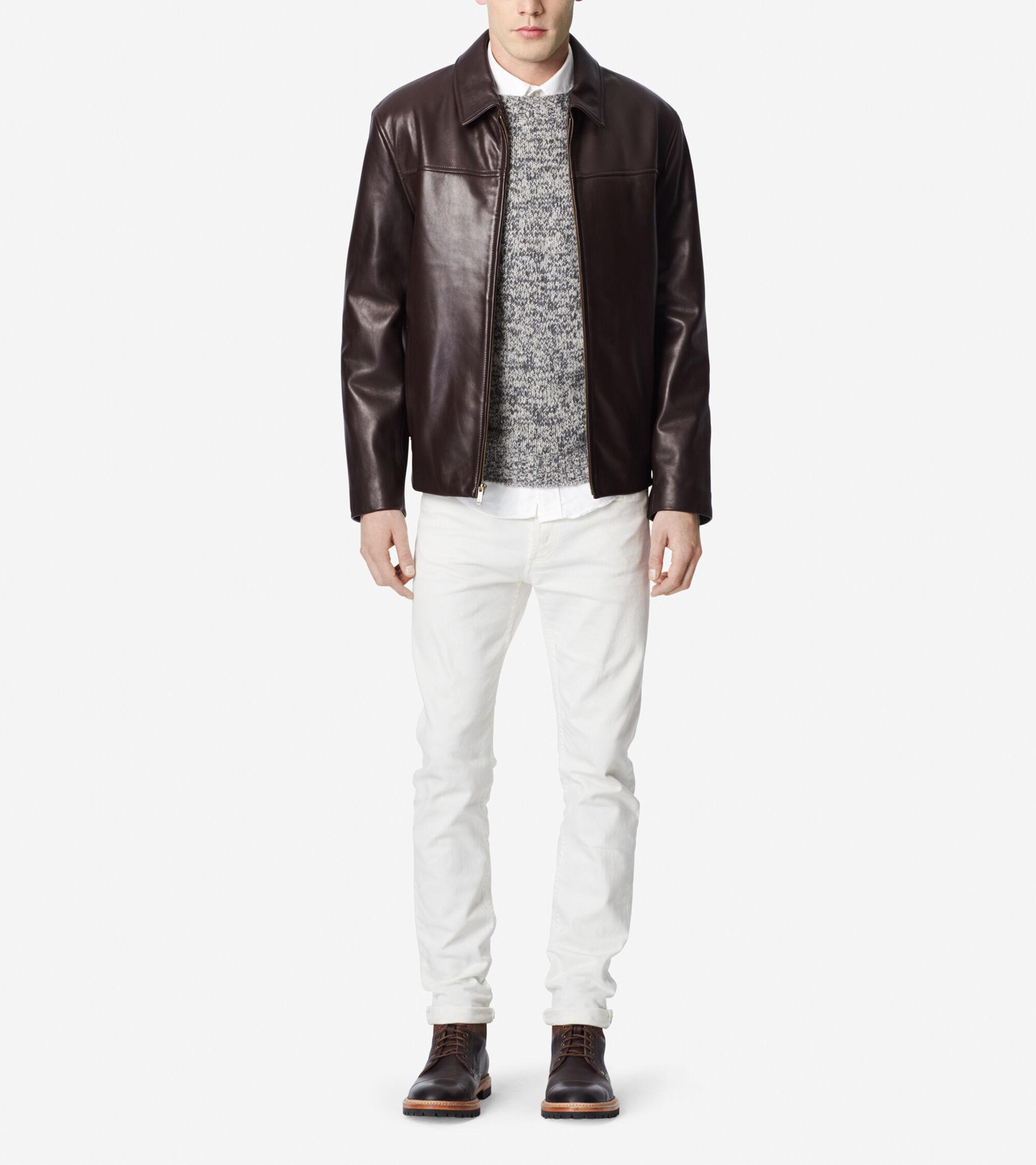 Outerwear > Smooth Lamb Shirt Collar Moto Jacket