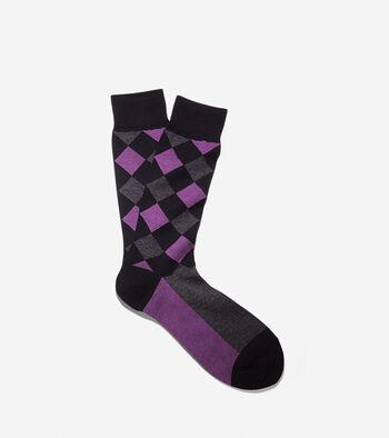 Woven Argyle Crew Socks