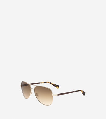 Metal Aviator Sunglasses With Leather