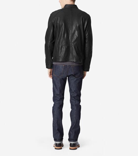 Washed Leather Moto Jacket