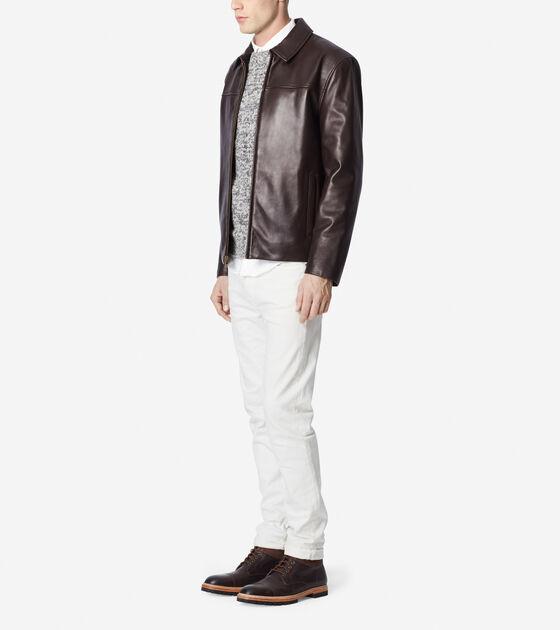 Smooth Lamb Shirt Collar Moto Jacket