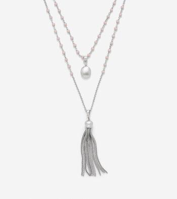 Semi-Precious Stone & Tassel Fringe Pendant Necklace