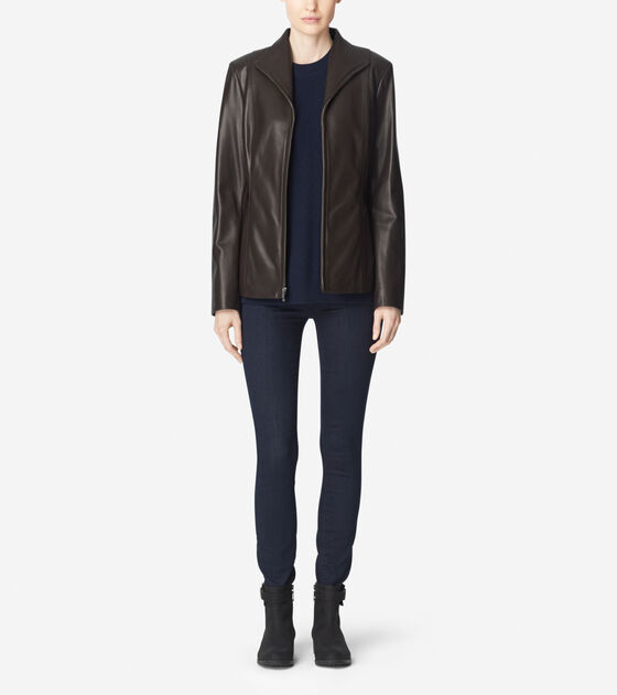 Outerwear > Smooth Lamb Wing Collar Leather Jacket