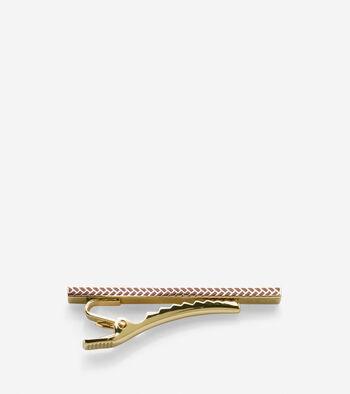 Enamel Basket Weave Tie Clip