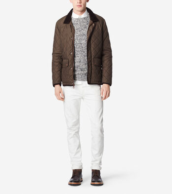 Quilted Nylon Jacket - Corduroy Accents