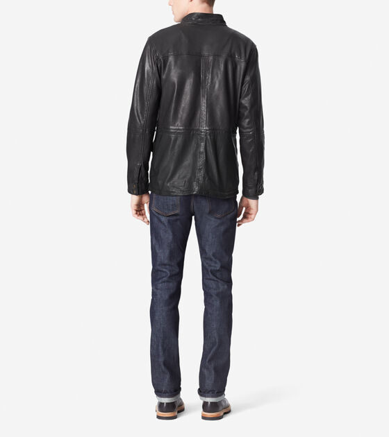 Washed Leather Moto Jacket With Front Pockets