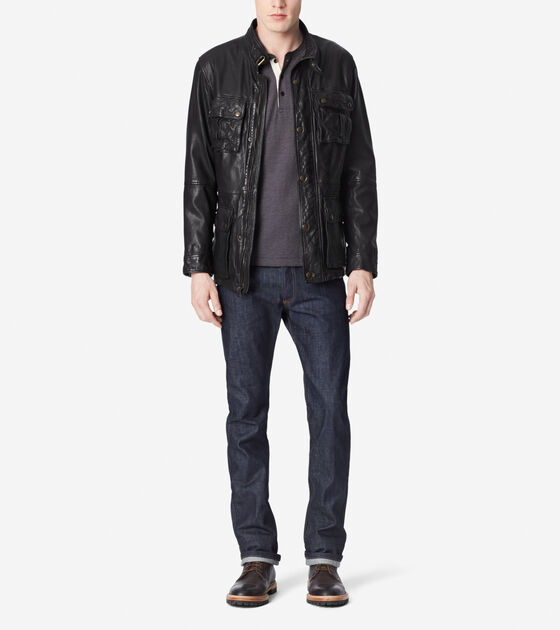 Outerwear > Washed Leather Moto Jacket With Front Pockets