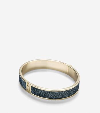 Thin Hinged Leather Inlay Bangle