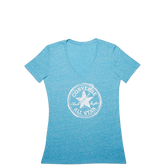 Womens Sketched Chuck Taylor Patch V Neck Tee Cyan Space Heather