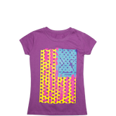 Girls Pop Art Americana Tee 6-12 Yrs Allium Purple